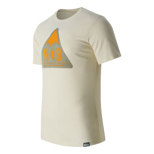 Mens New Balance Mountain Patch Tee Short Sleeve Technical Tops - Angora M