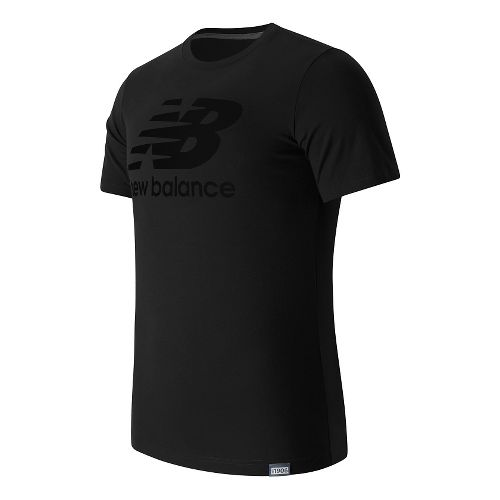 Mens New Balance Classic Logo Tee Short Sleeve Technical Tops - Black XL