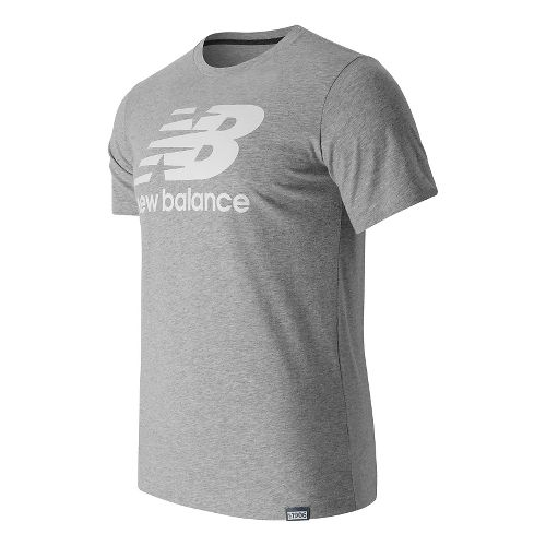 Mens New Balance Classic Logo Tee Short Sleeve Technical Tops - Athletic Grey S