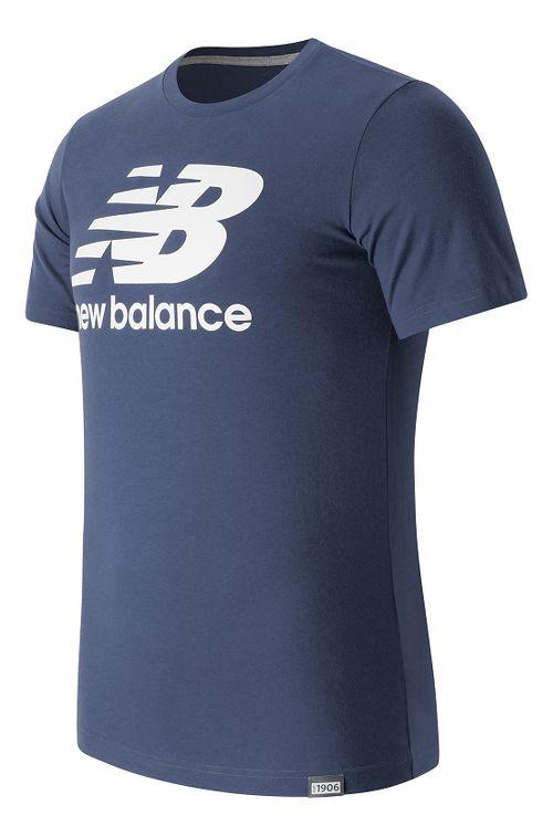 Mens New Balance Classic Logo Tee Short Sleeve Technical Tops - Navy S