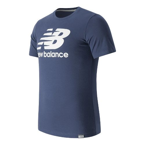 Mens New Balance Classic Logo Tee Short Sleeve Technical Tops - Navy XL