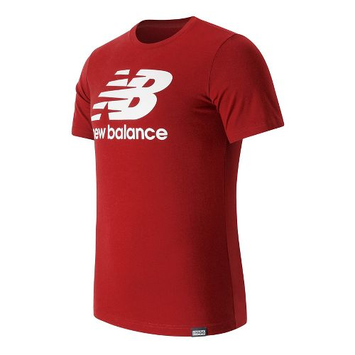 Mens New Balance Classic Logo Tee Short Sleeve Technical Tops - Alpha Red S