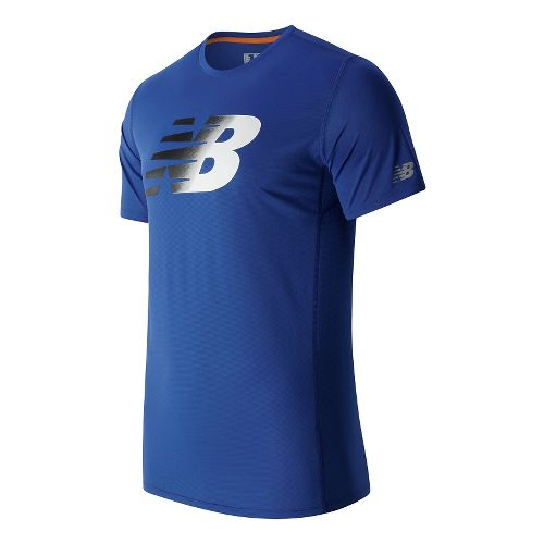 Mens New Balance Accelerate Graphic Short Sleeve Technical Tops - Marine Blue L