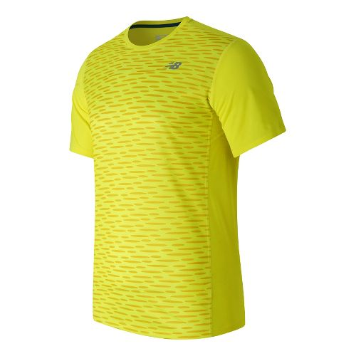 Mens New Balance Accelerate Graphic Short Sleeve Technical Tops - Firefly Print L