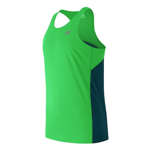 Mens New Balance Accelerate Singlet Sleeveless & Tank Technical Tops - Vivid Cactus L