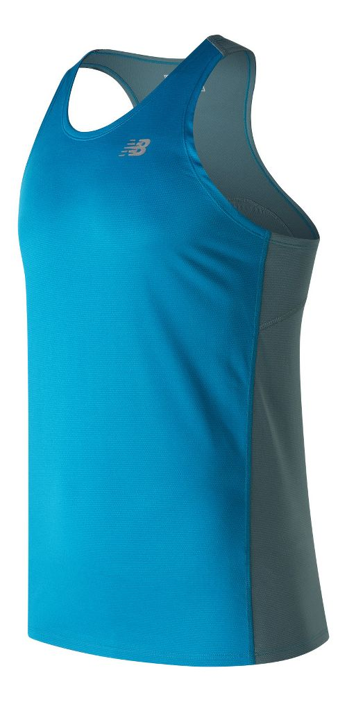 Mens New Balance Accelerate Singlet Sleeveless & Tank Technical Tops - Deep Ozone Blue XL