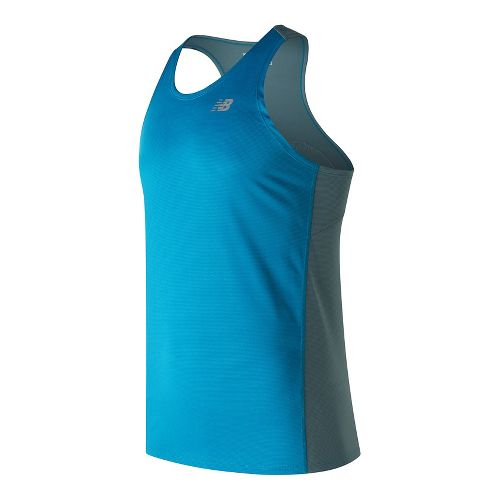 Mens New Balance Accelerate Singlet Sleeveless & Tank Technical Tops - Deep Ozone Blue S ...