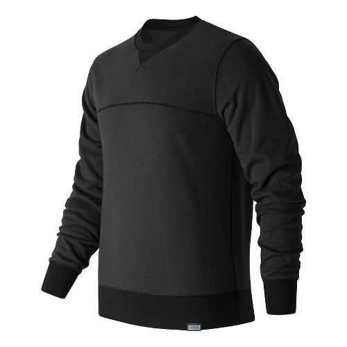 Mens New Balance Classic Crew Neck Sweatshirt Half-Zips & Hoodies Technical Tops - Black S ...