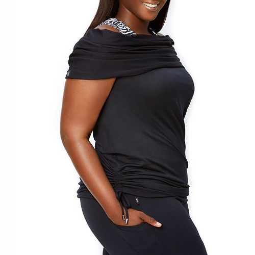 Katie K Signature Cowl Neck Sleeveless & Tank Technical Tops - Black L