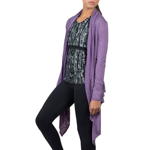 Womens Soybu Shelby Wrap Long Sleeve Non-Technical Tops - Silver Plum XL