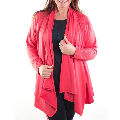 Katie K Freeflow Cardigan Long Sleeve Technical Tops - Coral L