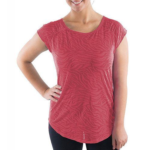 Katie K Signature Burnout Open Back Tee Short Sleeve Technical Tops - Coral Zebra S ...