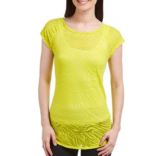 Katie K Signature Burnout Open Back Tee Short Sleeve Technical Tops - Citrus Zebra M ...