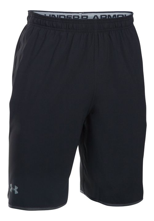 Mens Under Armour Qualifier Woven Unlined Shorts - Black/Steel M