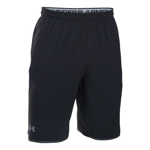 Mens Under Armour Qualifier Woven Unlined Shorts - Black/Steel L