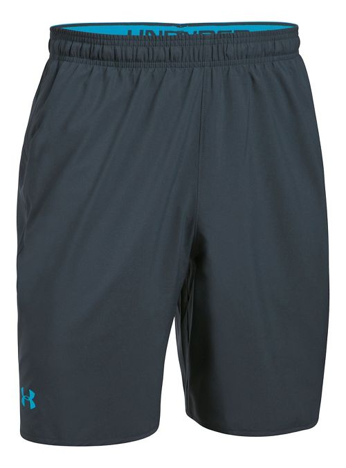 Mens Under Armour Qualifier Woven Unlined Shorts - Stealth Grey/Blue L