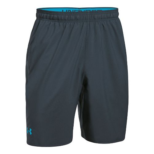 Mens Under Armour Qualifier Woven Unlined Shorts - Black/Steel XXL