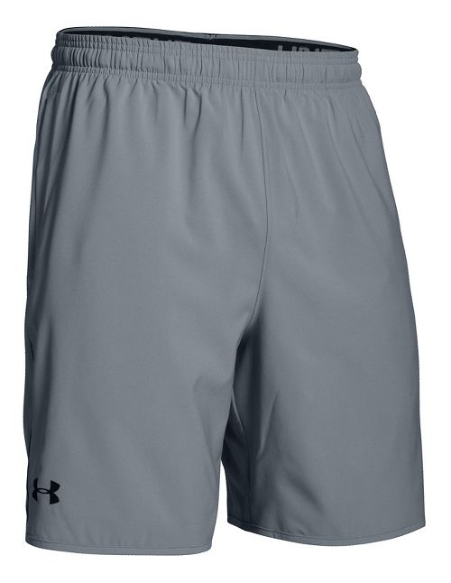 Mens Under Armour Qualifier Woven Unlined Shorts - Steel/Black XXL