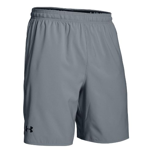 Mens Under Armour Qualifier Woven Unlined Shorts - Steel/Black L