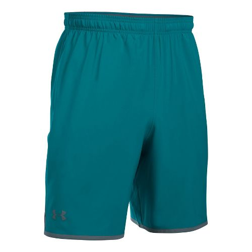 Mens Under Armour Qualifier Woven Unlined Shorts - Turquoise/Graphite 3XL