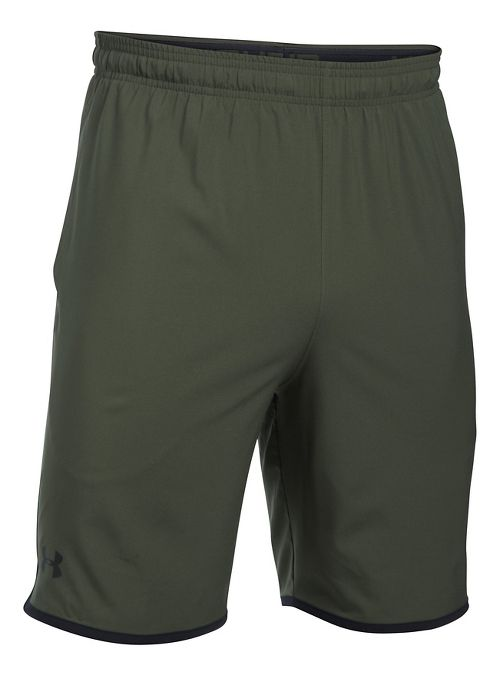 Mens Under Armour Qualifier Woven Unlined Shorts - Downtown Green/Black L