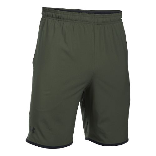 Mens Under Armour Qualifier Woven Unlined Shorts - Downtown Green/Black M