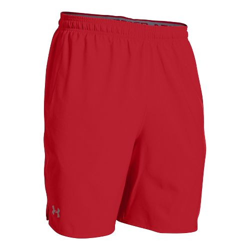 Mens Under Armour Qualifier Woven Unlined Shorts - Red/Steel L