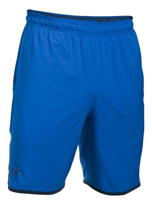 Mens Under Armour Qualifier Woven Unlined Shorts - Blue Marker/Black L