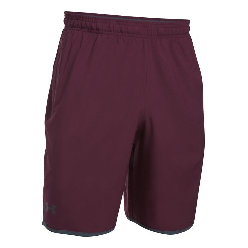 Mens Under Armour Qualifier Woven Unlined Shorts - Raisin Red/Grey M