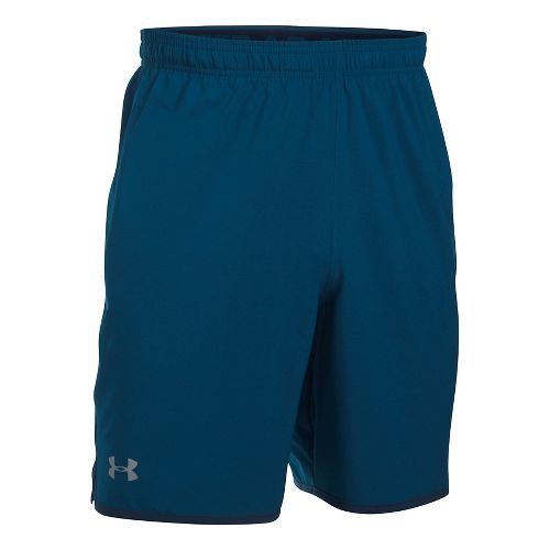 Mens Under Armour Qualifier Woven Unlined Shorts - Blackout Navy/Steel 3XL