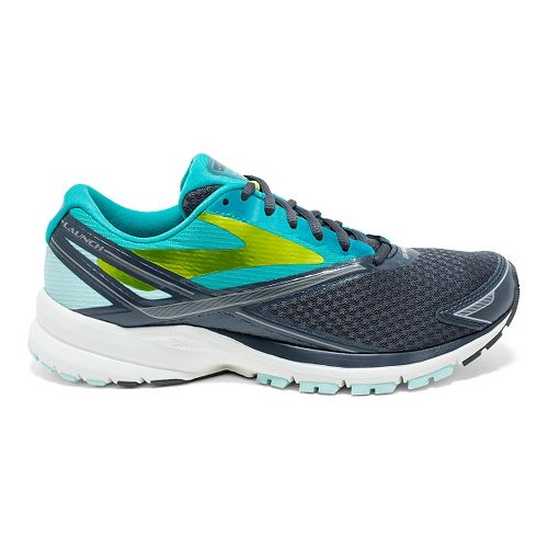 Womens Brooks Launch 4 Running Shoe - Anthracite/Teal 8.5