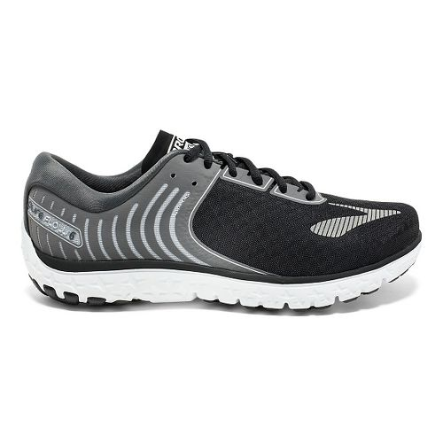 Womens Brooks PureFlow 6 Running Shoe - Black/Silver 10.5