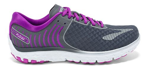 Womens Brooks PureFlow 6 Running Shoe - Anthracite/Silver 5