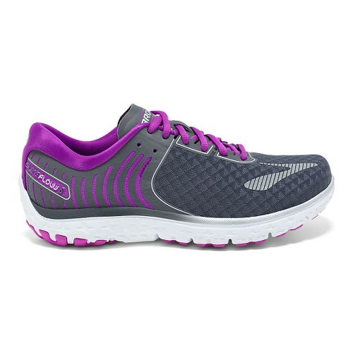Womens Brooks PureFlow 6 Running Shoe - Anthracite/Silver 8