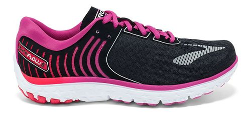 Womens Brooks PureFlow 6 Running Shoe - Black/Rose Violet 5