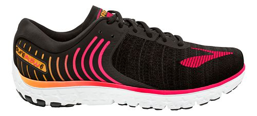 Womens Brooks PureFlow 6 Running Shoe - Black/Pink 10.5