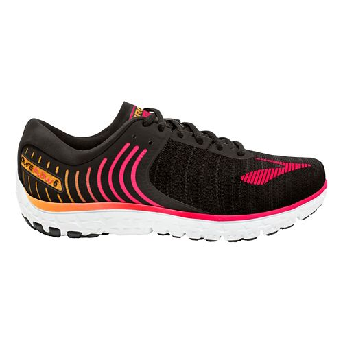 Womens Brooks PureFlow 6 Running Shoe - Black/Pink 7.5