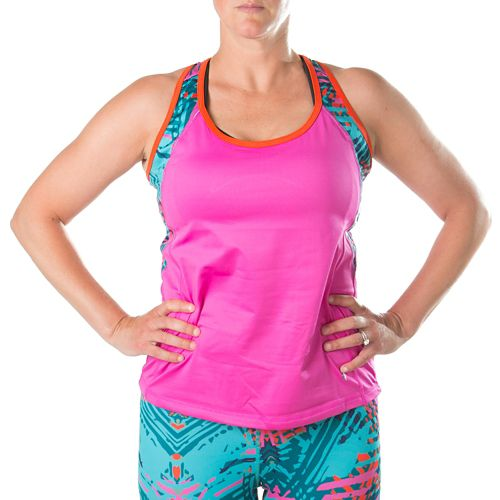 Katie K Rush-hour Racerback Sleeveless & Tank Technical Tops - Rose/Aqua Palm 1X