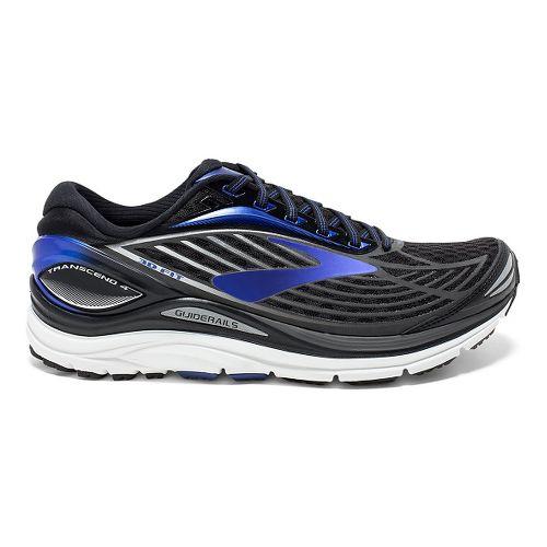 Mens Brooks Transcend 4 Running Shoe - Black/Blue 12.5