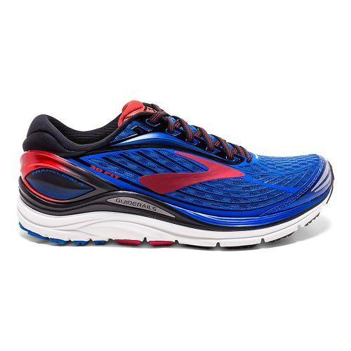 Mens Brooks Transcend 4 Running Shoe - Blue/Red 12.5
