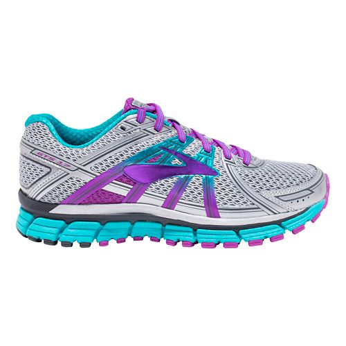 Womens Brooks Adrenaline GTS 17 Running Shoe - Silver/Purple 10