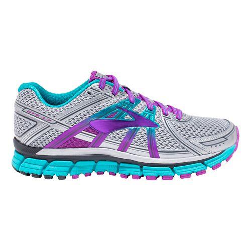 Womens Brooks Adrenaline GTS 17 Running Shoe - Silver/Purple 6.5