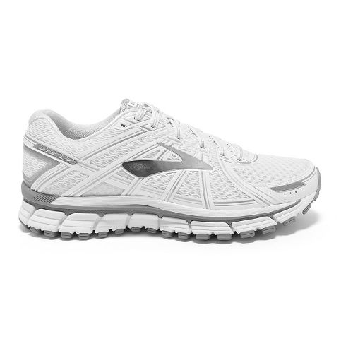 Womens Brooks Adrenaline GTS 17 Running Shoe - White/Silver 8.5