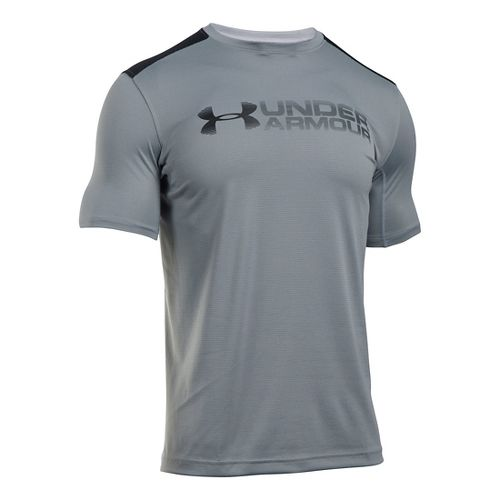 Mens Under Armour Raid Turbo Graphic T Short Sleeve Technical Tops - Steel/Black M