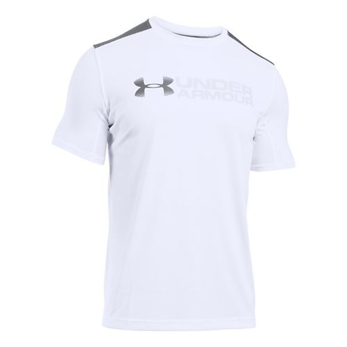 Mens Under Armour Raid Turbo Graphic T Short Sleeve Technical Tops - White/Graphite S