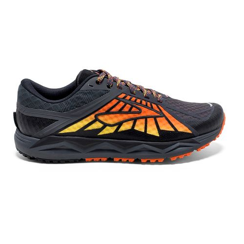 Mens Brooks Caldera Trail Running Shoe - Anthracite/Orange 9.5