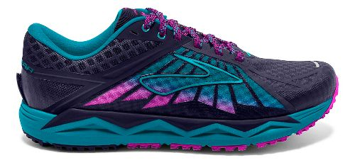 Womens Brooks Caldera Trail Running Shoe - Blue/Lime 9.5