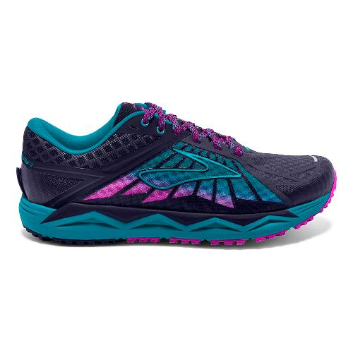 Womens Brooks Caldera Trail Running Shoe - Blue/Lime 10.5