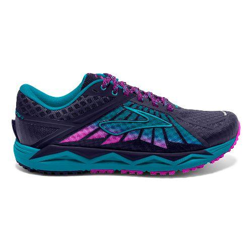 Womens Brooks Caldera Trail Running Shoe - Blue/Lime 9.5