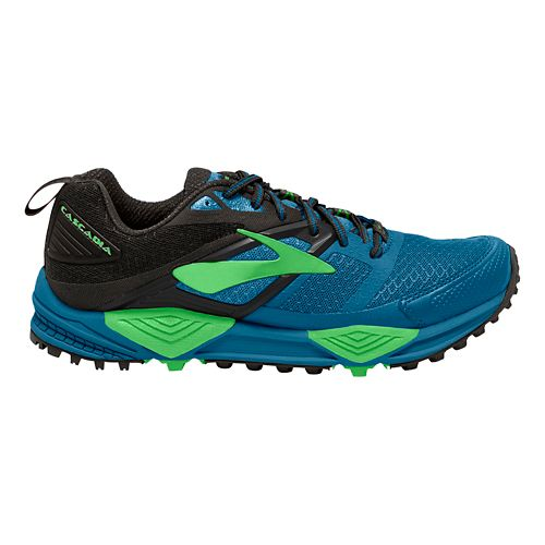Mens Brooks Cascadia 12 Trail Running Shoe - Blue/Green 12.5